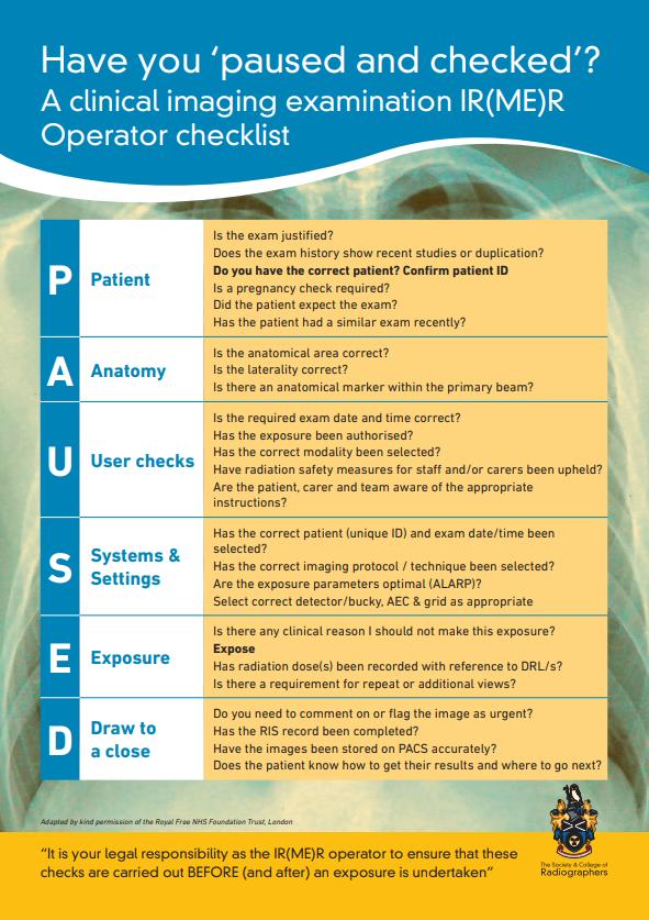 Operator checklist